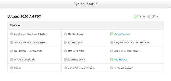 Apple Dev Portal Status Page