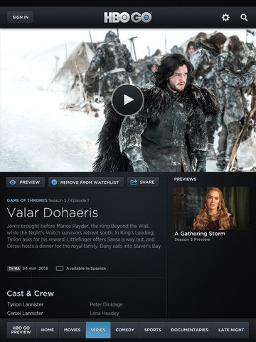 HBO iOS App Version 2.1