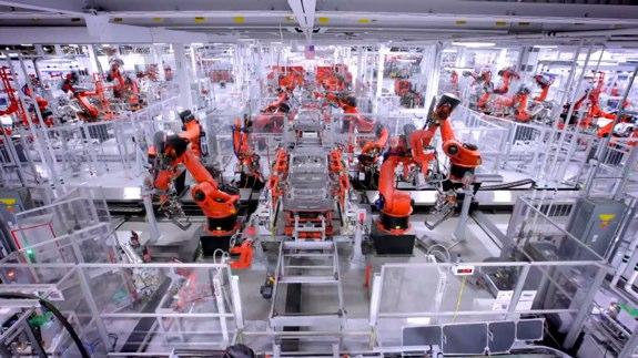 Tesla Model S robots