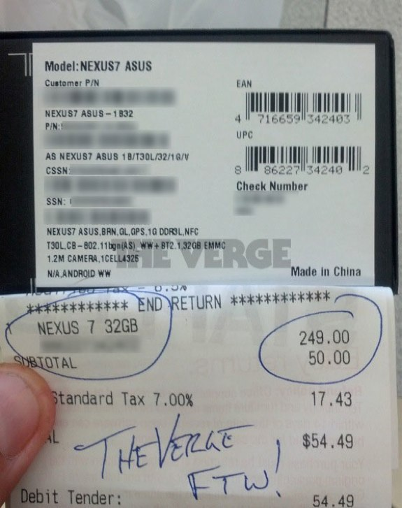 Nexus 7 32GB Version Receipt