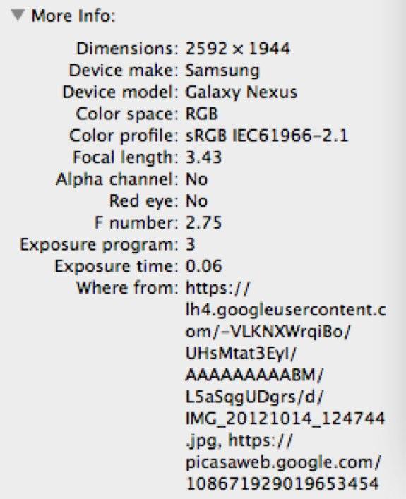 Sony Nexus X Image Info
