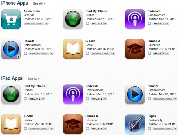 Apple iOS 6 app updates