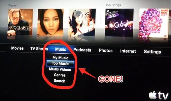 Apple TV Music Menu