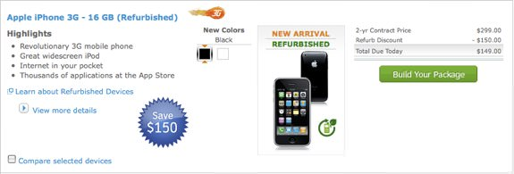 AT&T iPhone 3G refurbished