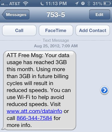 AT&amp;T Data Overage SMS
