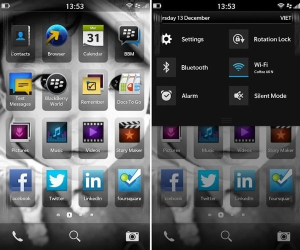 BlackBerry 10 home screen