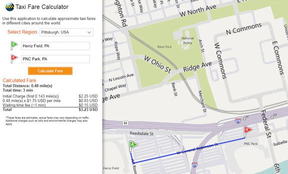 Bing Maps taxi fare calculator