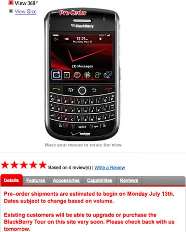 BlackBerry Tour Verizon Upgrade