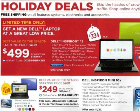 Dell Black Friday 2009 ad