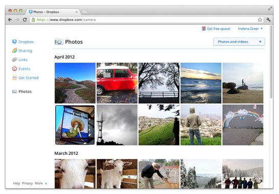 Dropbox photo upload free space