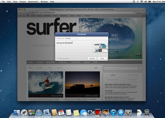 Facebook Mountain Lion integration