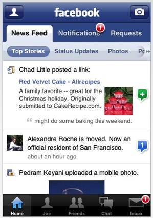 Facebook for iPhone version 2