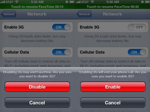 iOS 6 FaceTime 3G