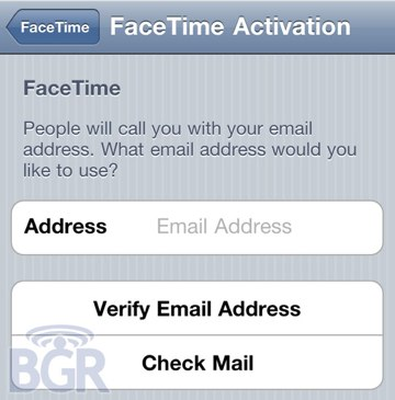 Facetime email activation