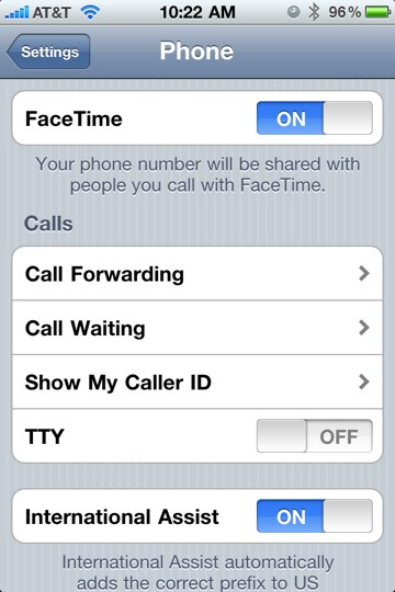 iPhone FaceTime Setting