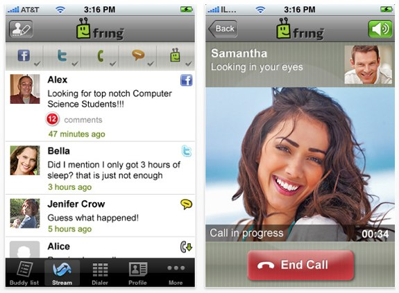 Fring Skype video calls
