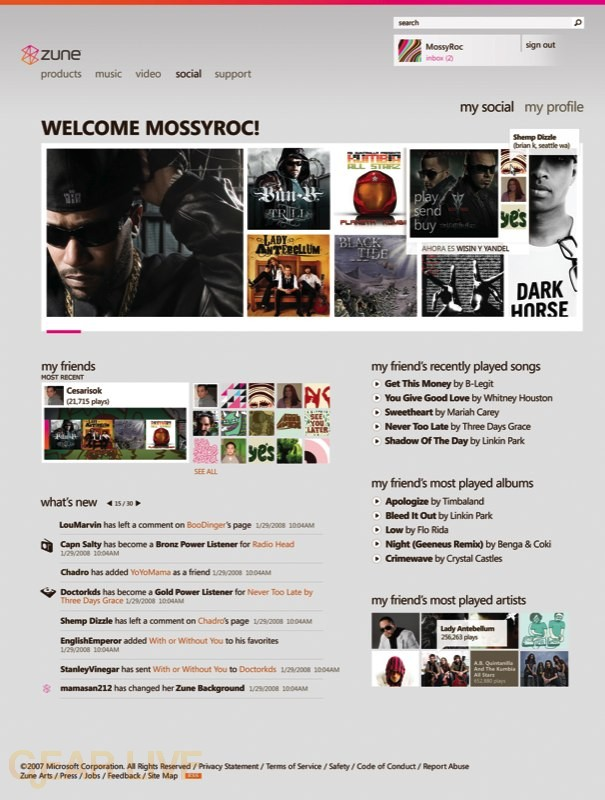 Zune 2.5 Social Page