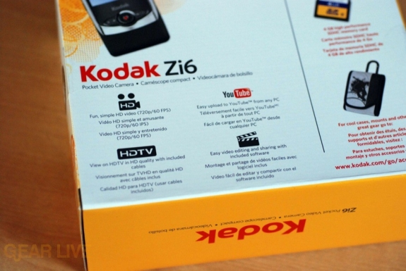 Kodak Zi6 box features