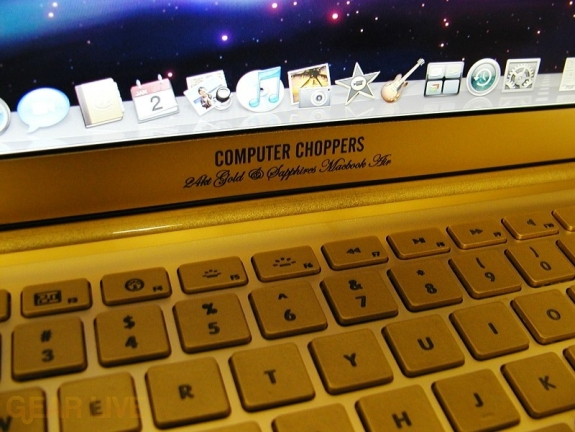 Computer Choppers logo on 24k gold Macbook Air