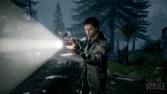 Alan Wake aiming flashlight and gun