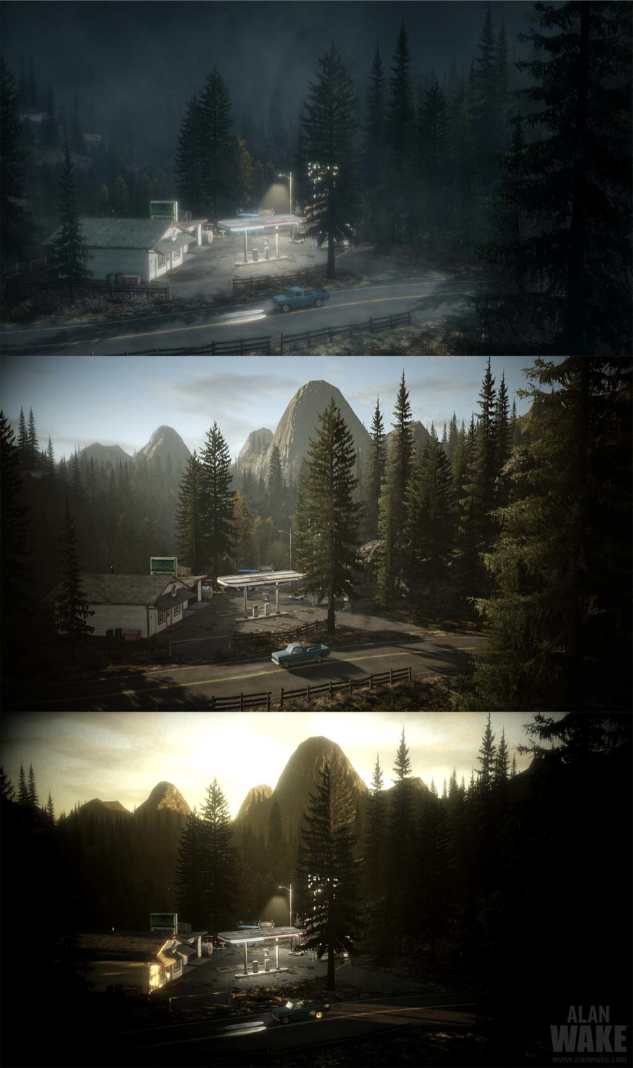 Alan Wake gas station day to night