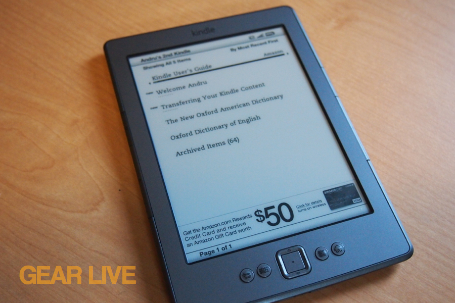 Amazon Kindle 4 home screen