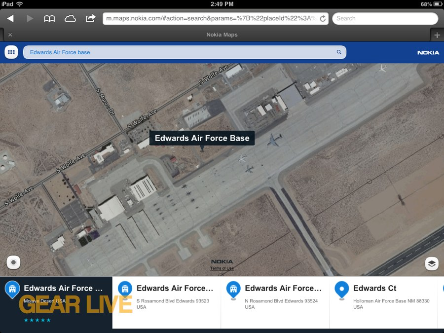 Nokia Maps Edwards Air Force Base