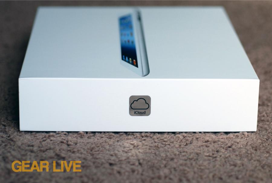 iCloud logo on the iPad box