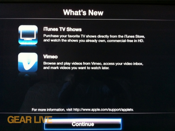 Apple TV iCloud and Vimeo features