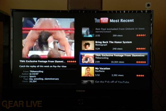 YouTube Most Recent Menu on Apple TV