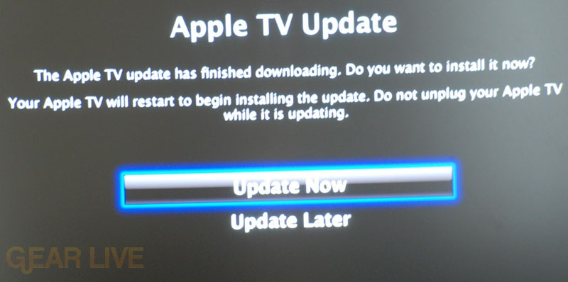 Confirming Apple TV Update