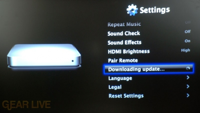 Apple TV Downloading Update