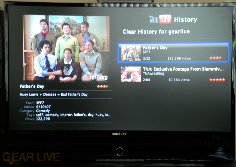 Apple TV YouTube: History Menu
