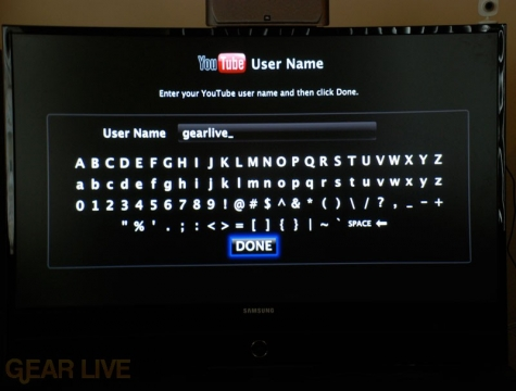 YouTube User Name on Apple TV