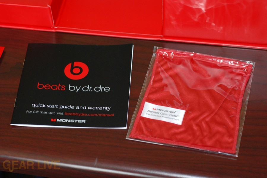 Beats by Dr. Dre instructions and cloth