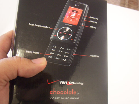 Back of LG Chocolate VX8500 Box