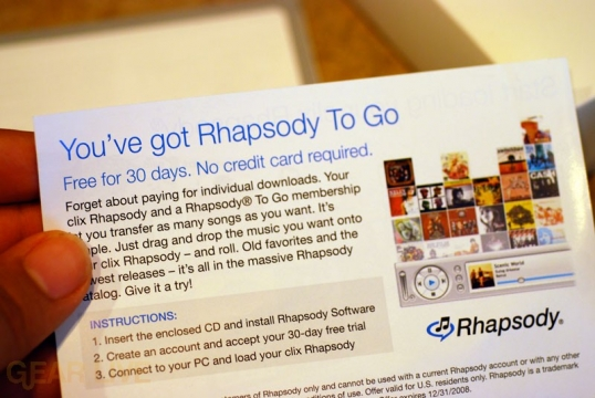 clix Rhapsody 30-Day Rhapsody To Go Trial