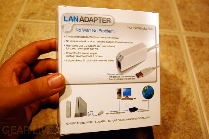 Back of Wii LAN Adapter Box