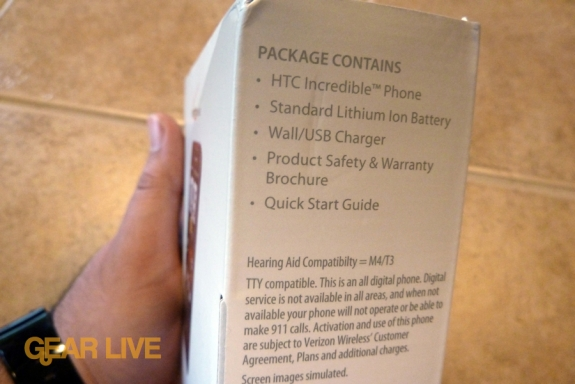 HTC Droid Incredible package contents
