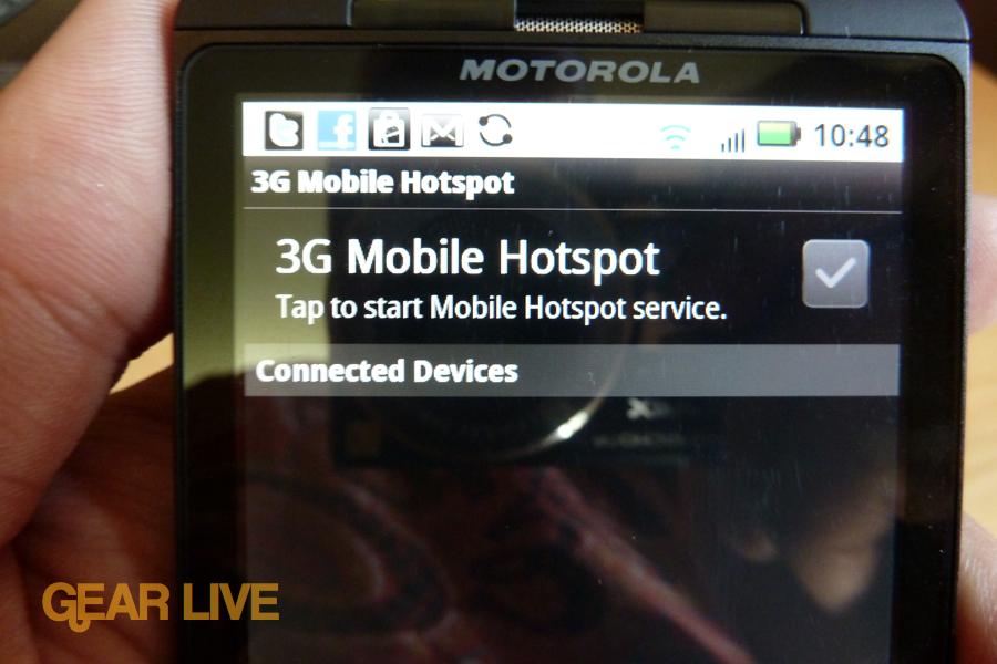 Motorola Droid X 3G Mobile Hotspot