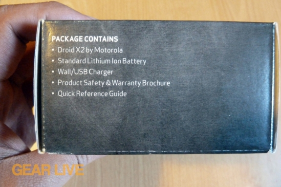 Motorola Droid X2 box contents