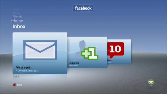 Facebook Inbox on Xbox 360