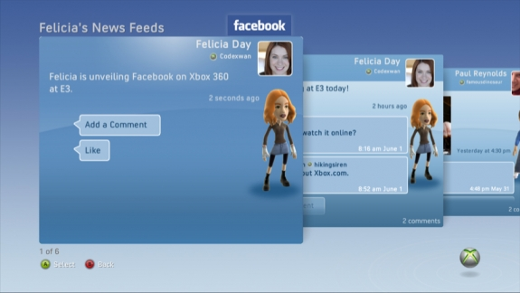 Facebook running on Xbox Live.