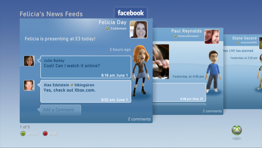 Facebook Personal News feed on Xbox 360