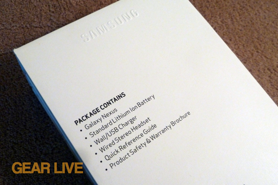 Galaxy Nexus package contents