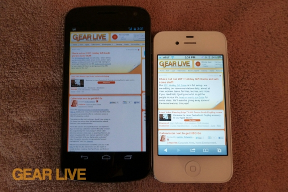 Galaxy Nexus vs iPhone 4S