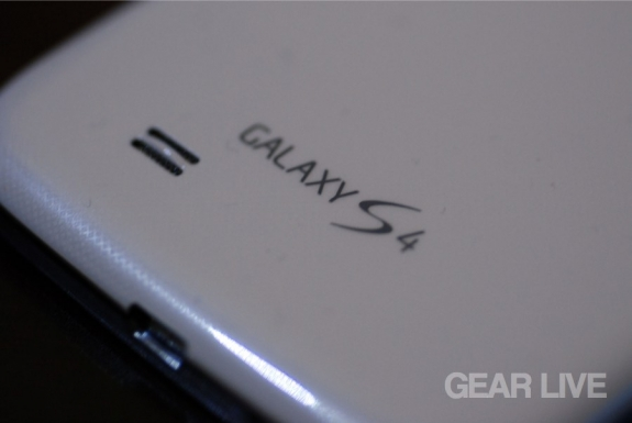 Samsung Galaxy S4 logo and speaker