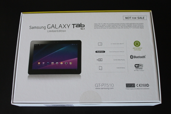 Samsung Galaxy Tab 10.1 box back