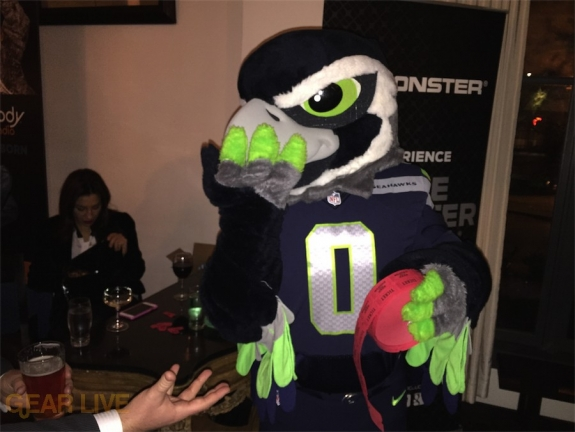 Blitz the Seahawk steals the raffle tickets