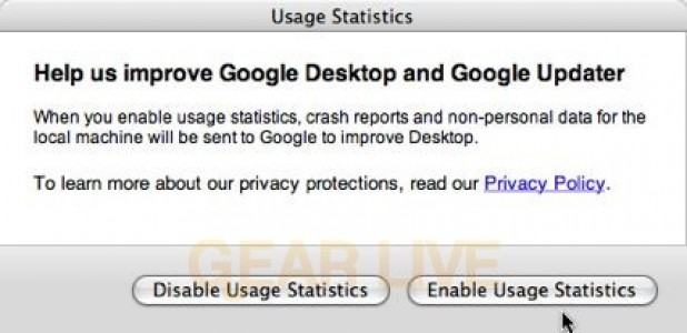 Google Desktop Usage Statistics Preferences
